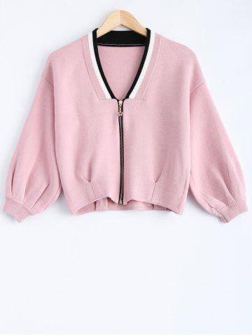 Zip Up Batwing Sleeve Short Cardigan - PINK ONE SIZE