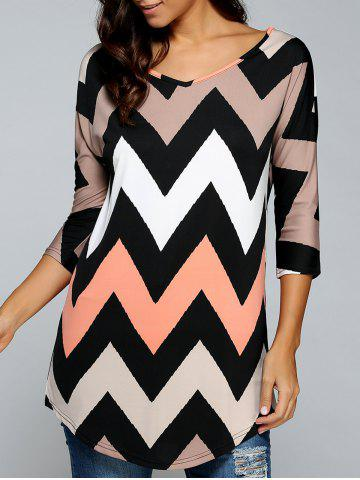 Shop Printed Zig Zag V Neck T- Shirt COLORMIX S