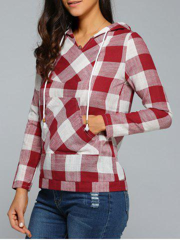 Hot Kangaroo Pocket  Plaid Pattern Hoodie RED S