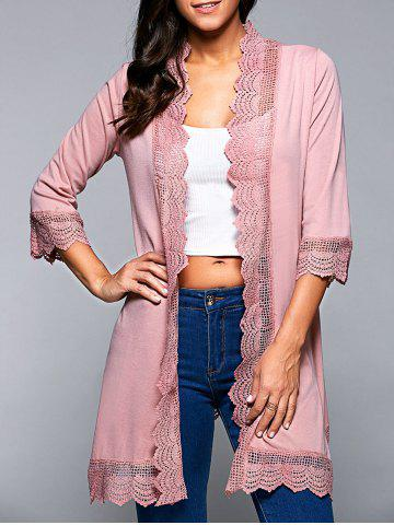 Cheap Lace Spliced Asymmetric Cardigan