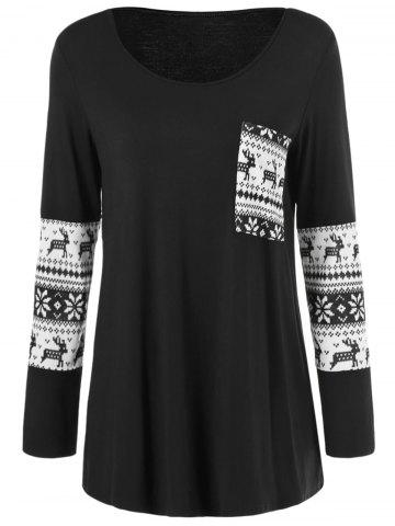 Hot Wapiti Pattern One Pocket Blouse WHITE/BLACK M
