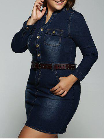 Outfit Plus Size Belted Fitted Jeans Long Sleeve Shirt Dress