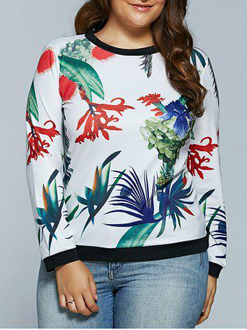 Chic Casual 3D Tropical Plant Print Long Sleeve T-Shirt WHITE 5XL