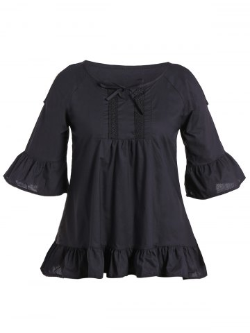 Unique Flounce Cold Shoulder Plus Size Flare Sleeve Blouse BLACK 5XL