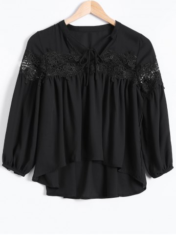 Fancy High Low Lace Splicing Chiffon Blouse