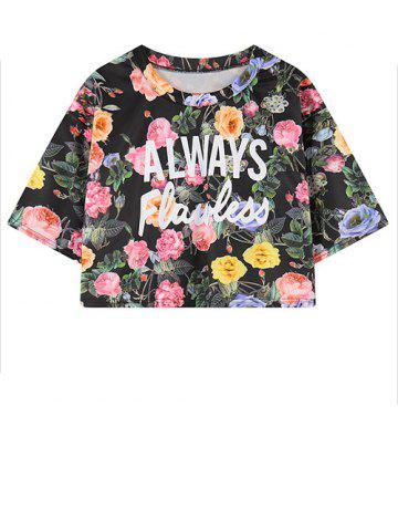 Affordable Round Neck Letter Floral Print Cropped T-Shirt