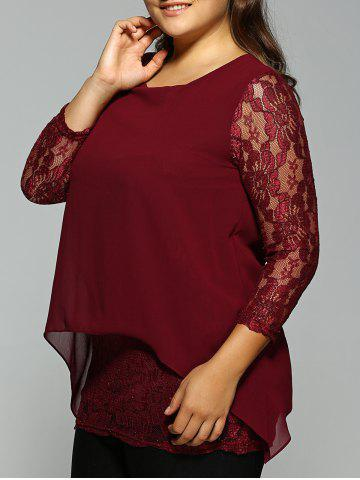 Affordable Plus Size Lace Spliced Asymmetric Chiffon Top WINE RED 5XL