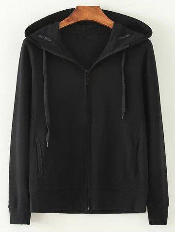 Outfits Hooded Cotton Zip-Up Loose Jacket BLACK L