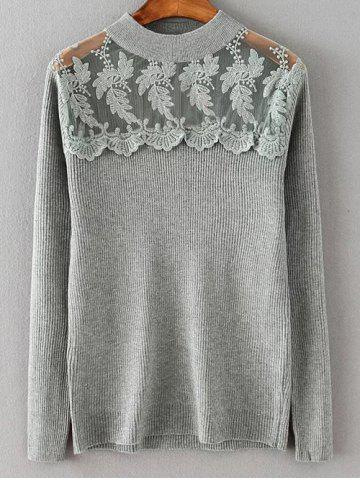 Sale Lace Spliced Loose Sweater GRAY