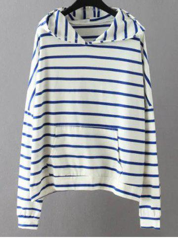 Cheap Striped Pockets Sweatshirt WHITE 3XL