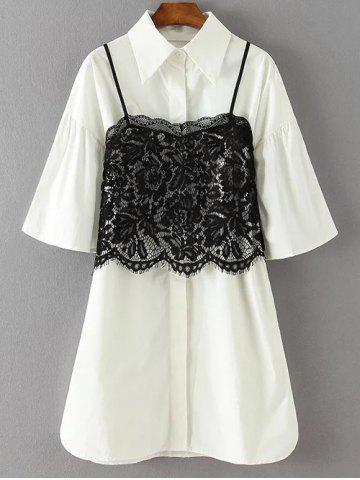 Fancy Loose Shirt Dress With Cami Lace Tank Top