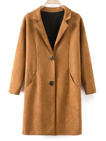 Chic Single Breasted Lapel Faux Suede Coat