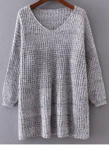 Cheap Drop Shoulder Variegated Oversized Sweater
