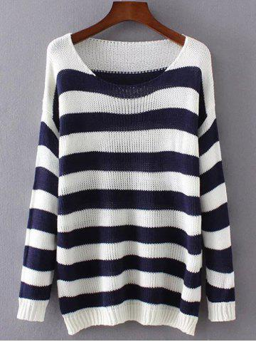 Cheap Two Tone Striped Scoop Sweater