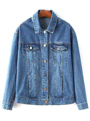 Shops Turn-Down Collar Denim Embroidered Jacket