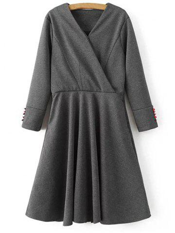 Long Sleeve Crossover Modest A Line Dress - GRAY M