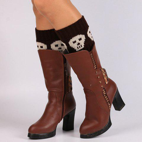 Outfits Casual Skull Pattern Boot Cuffs DARK COFFEE