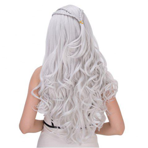 New Long Shaggy Wavy Cosplay Synthetic Wig - SILVER WHITE  Mobile