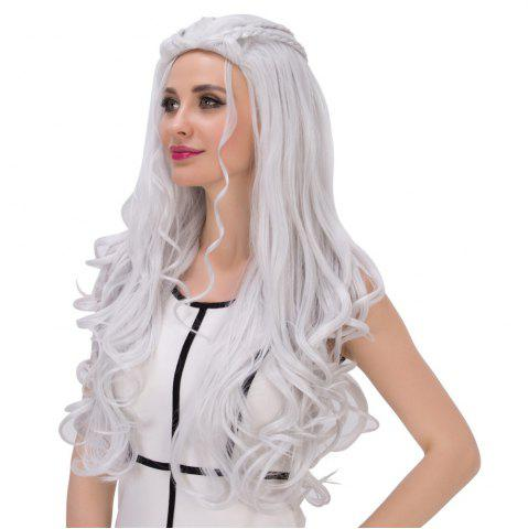 Affordable Long Shaggy Wavy Cosplay Synthetic Wig - SILVER WHITE  Mobile