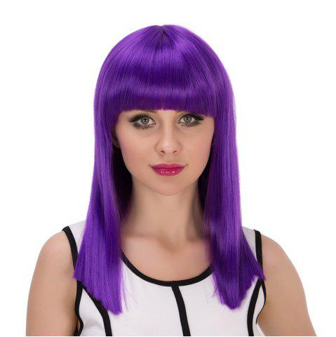 Fashion Long Full Bang Straight Cosplay Synthetic Wig - AMETHYST  Mobile