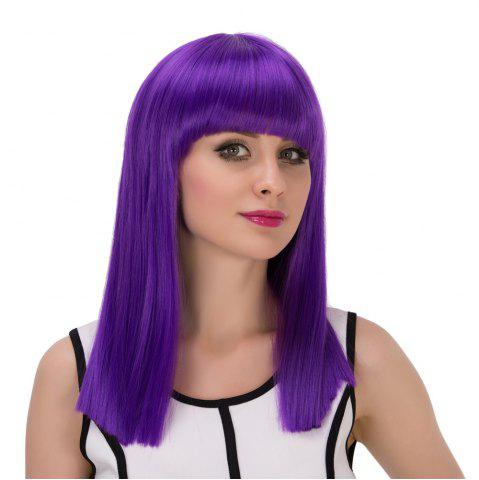 Latest Long Full Bang Straight Cosplay Synthetic Wig - AMETHYST  Mobile