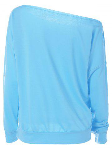 Store Long Sleeve One-Shoulder Shell Print Sweatshirt - M LIGHT BLUE Mobile