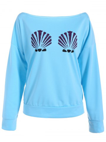 Latest Long Sleeve One-Shoulder Shell Print Sweatshirt - M LIGHT BLUE Mobile