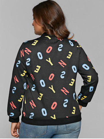 Trendy Letter Print Zipper Flying Bomber Jacket - XL BLACK Mobile