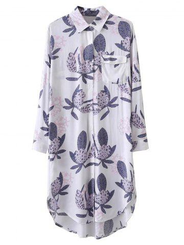 Shops Button Printed Longline Shirt WHITE M