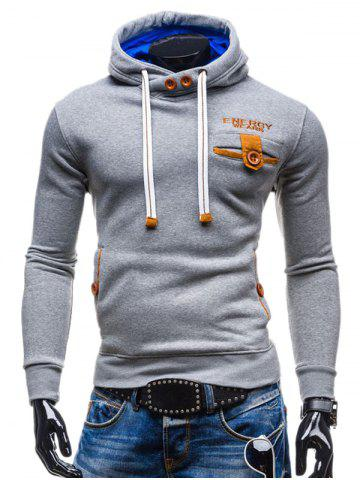 Hot Hooded Buttons Embellished Edging Long Sleeve Hoodie