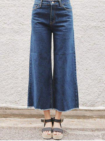 Outfit Back Pocket Unedged Denim Wide Leg Pants