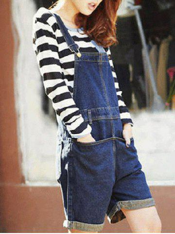 Outfit Topstitching Back Pocket Denim Overall Shorts
