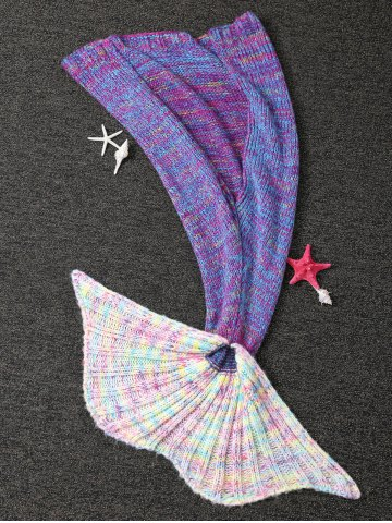 Latest Warm and Soft Knitted Sofa Kids Mermaid Tail Blanket - M PURPLE Mobile