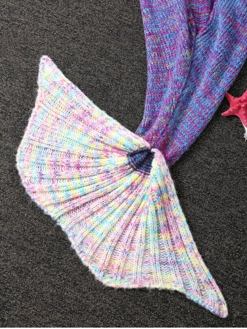 Unique Warm and Soft Knitted Sofa Kids Mermaid Tail Blanket - S PURPLE Mobile