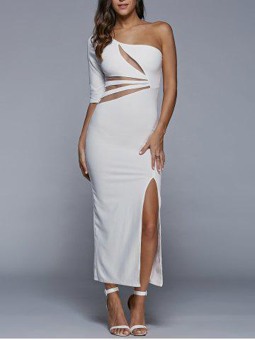 Online One-Shoulder Slit Fitted Maxi Formal Dress