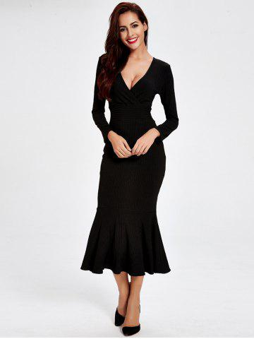 Shops Long Sleeve Fitted Mermaid Midi Prom Dress BLACK M