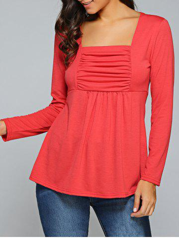 Best Square Neck Ruched Long Sleeve T-Shirt - L RED Mobile