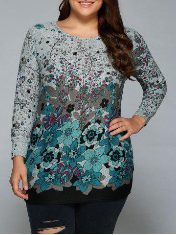 Loose-Fitting Floral Print T-Shirt - BLUE ONE SIZE