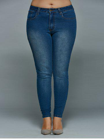 Hot Plus Size Mid Waisted Skinny Jeans DENIM BLUE 5XL