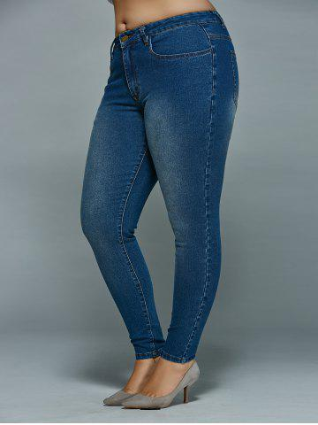 Latest Plus Size Mid Waisted Skinny Jeans - 4XL DENIM BLUE Mobile