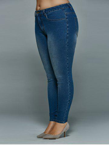 Outfits Plus Size Mid Waisted Skinny Jeans - 4XL DENIM BLUE Mobile