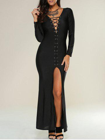 Lace Up Maxi Slit Formal Party Prom Dress with Long Sleeves - Black - L