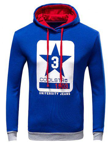 Fancy Letter Print Drawstring Pullover Hoodie BLUE L