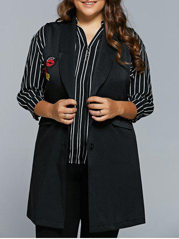 Affordable Lip Applique Long Waistcoat BLACK 5XL