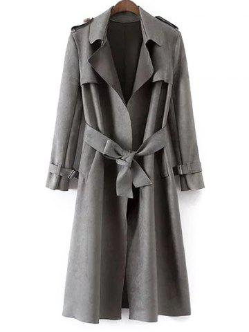 Discount Faux Suede Fitting Belted Wrap Trench Coat