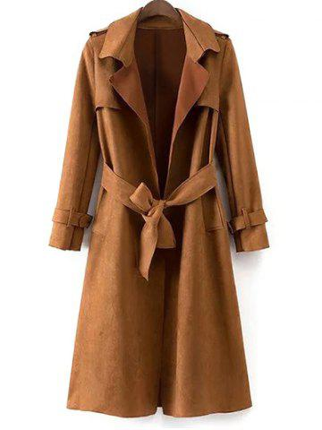 Store Faux Suede Fitting Belted Wrap Trench Coat KHAKI L