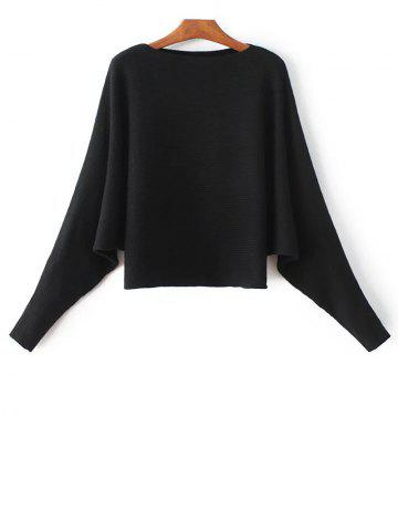 Best Bat-Wing Sleeve Loose Sweater BLACK ONE SIZE