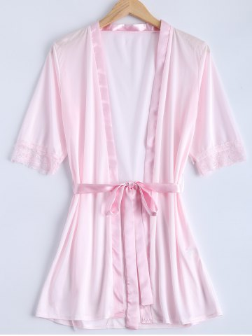 Cheap Transparent Belted Lace Panel Sleepwear PINK XL