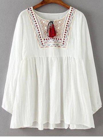 Ruched Embroidered Loose Blouse - White - 2xl