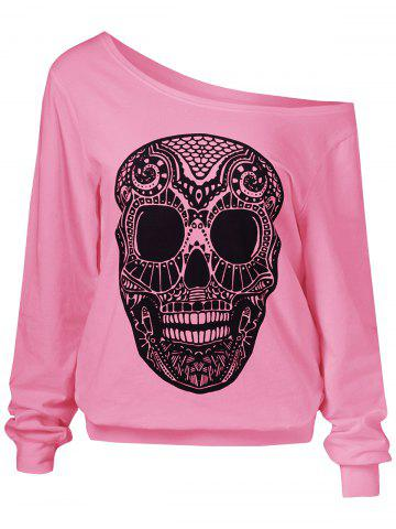 Fashion Skulls Print Skew Collar Sweatshirt PINK XL